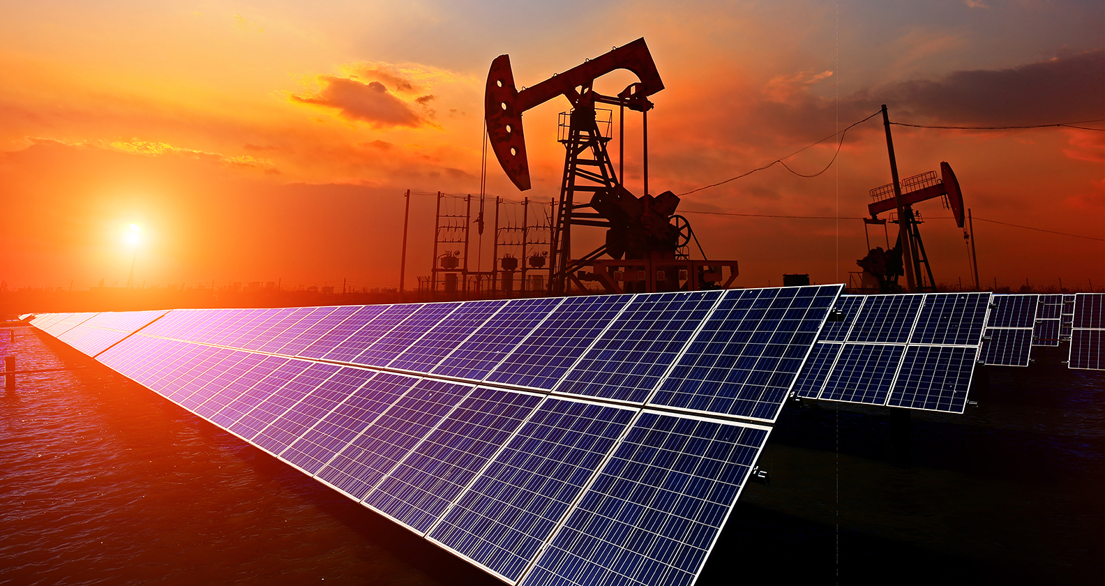 Oil and gas site powered by solar power.