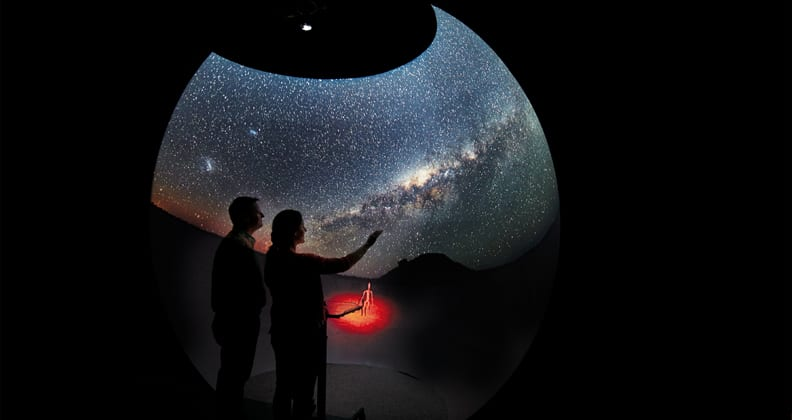 The Dome at Curtin HIVE by Robert Frith displaying the Milky Way above Lake Ballard panorama by John Goldsmith at Curtin Institute of Radio Astronomy